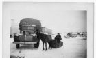 Horse and truck used for farm work at Moose Factory