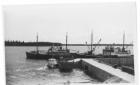 Boats at the dock in Moosonee in 1955