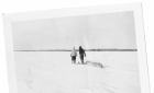 Hunters on snowshoes pulling a toboggan