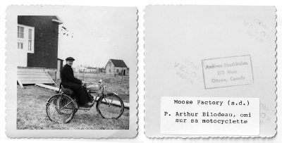 Father Bilodeau and his motorbike